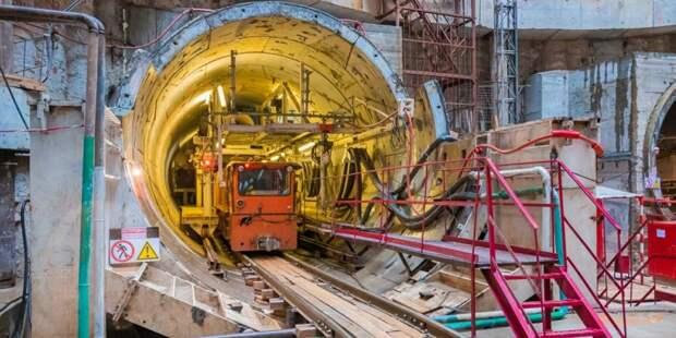 Собянин осмотрел ход строительства станции метро «Лианозово». Фото: mos.ru