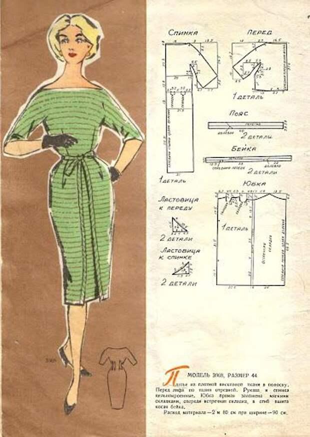 Выкройка платья 60-х годов