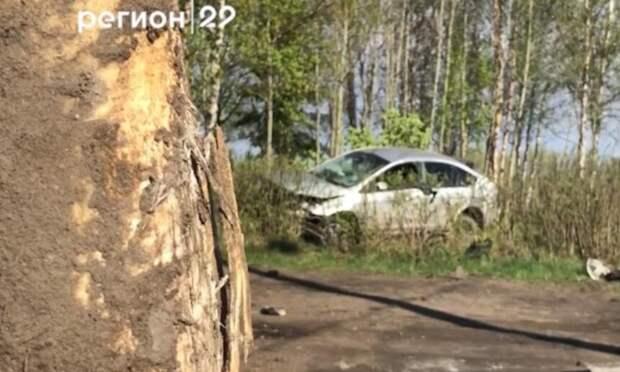Видео: вСеверодвинске пьяный водитель иномарки перевернулся иулетел вкусты