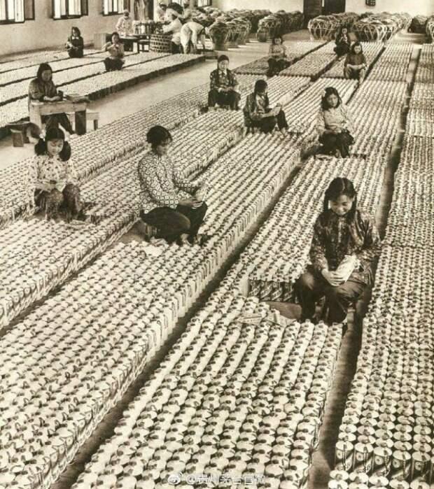 Цех по розливу китайской водки Маотай. 1950 г. история, ретро, фото