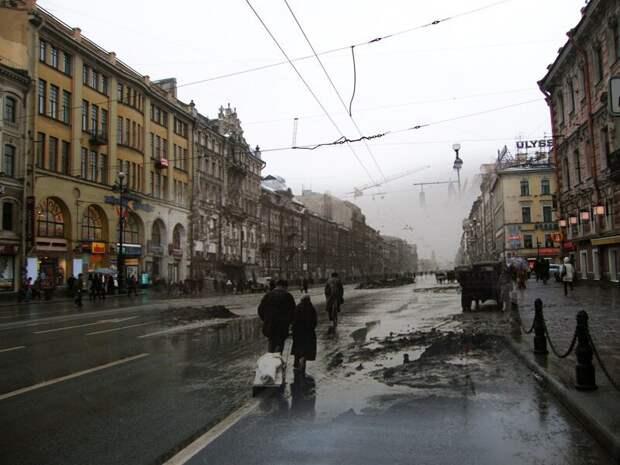 Ленинград 1942-2009 Невский проспект-улица Маяковского блокада, ленинград, победа