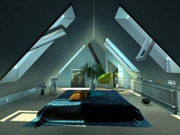 Крутое решение обустроить комнату для сна под самим чердаком дома, что точно понравится и подарит невероятные впечатления.