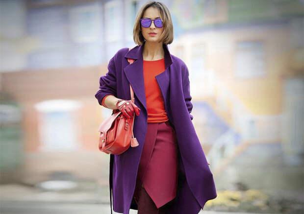 Фиолетовый цвет осени. Цвет одежды, который скрасит пасмурные дни.