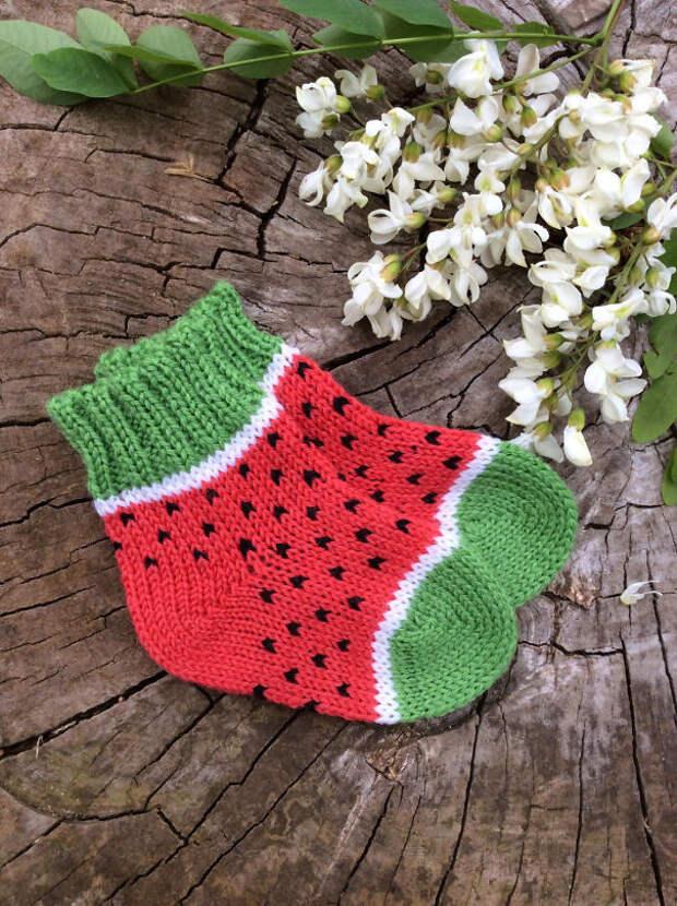 Носки-арбуз вязание, новый год, подарки