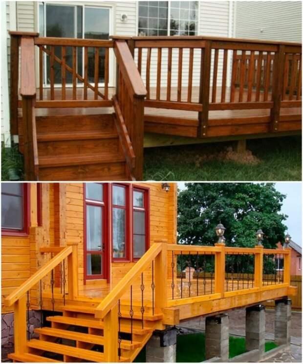 Правильный уход за деревянным настилом и ступенями сохранит конструкцию на многие годы.   Фото: strojchik.ru.