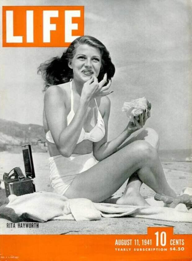 Обложка журнала «Life» с изображением Риты Хейворт. | Фото: pbs.twimg.com.