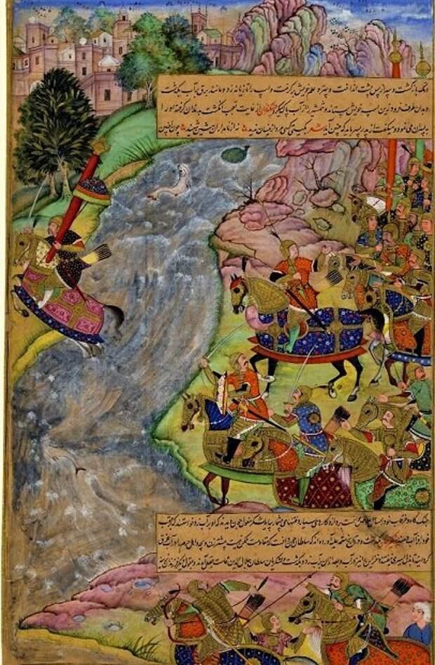 Джелал ад-Дин переплывает бурные воды Инда (средневековая арабская миниатюра).