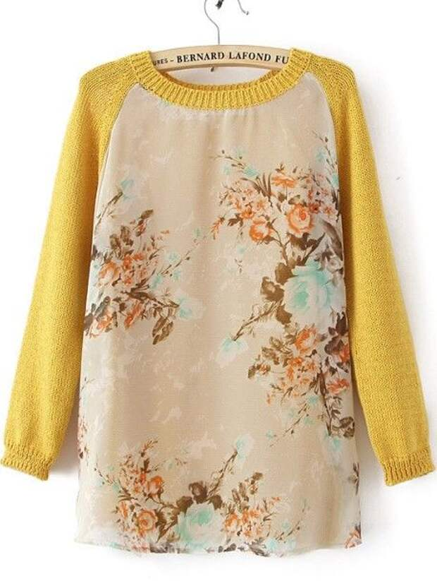 use the neckline and sleeves from old sweater to make a new sweater with a cotton pattern material.