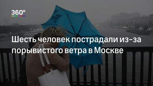 Шесть человек пострадали из-за порывистого ветра в Москве