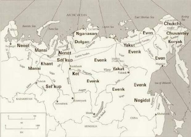 Некоторые из коренных народов Сибири упомянуты в тексте. Источник: www.museum.state.il.us