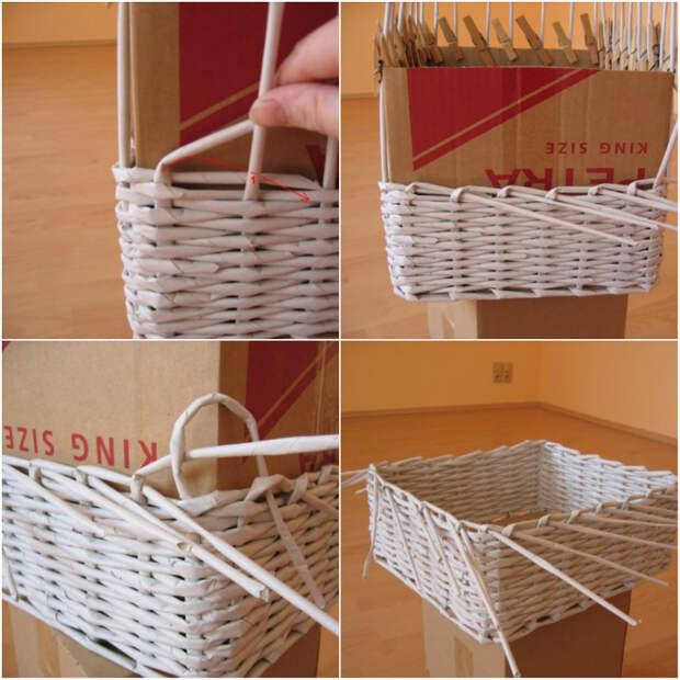 плетеные корзин из газет