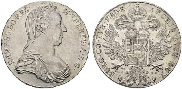 Талер Марии Терезии 1780 года. Посмертные выпуски времён монархии