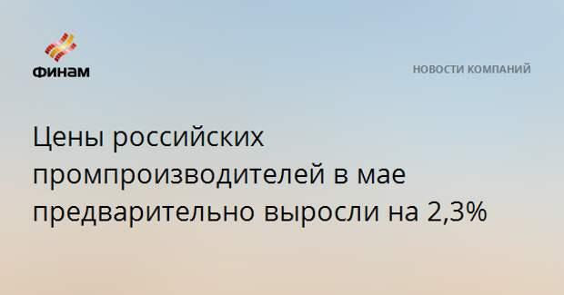 Цены российских промпроизводителей в мае предварительно выросли на 2,3%
