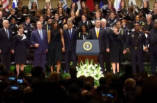 Возмущение зашкаливает — танцующий на похоронах Джордж Буш попал на видео