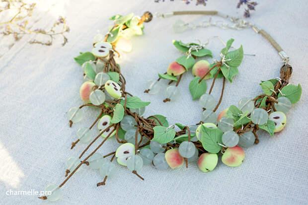 Яблоки ягоды из полимерной глины