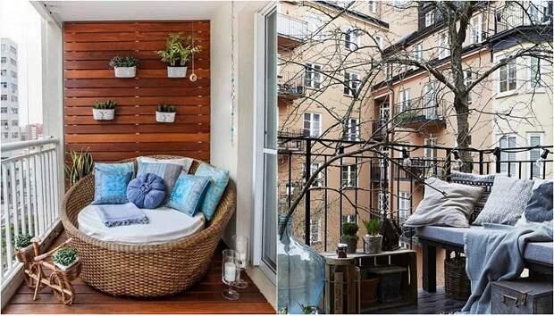 Интерьеры балконов, которые создадут теплую обстановку.