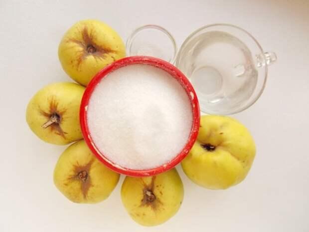 Ингредиенты для приготовления цукатов из айвы