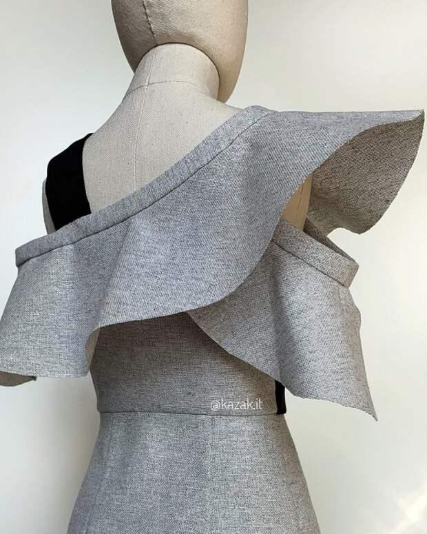 Моделирование платья из кусков, с воланами