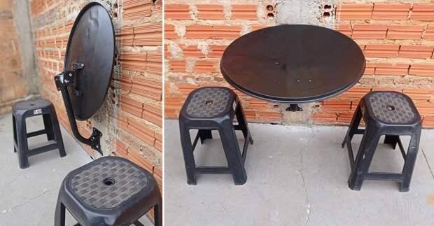 Сосед соорудил складной столик из старой антенны, уговариваю, чтобы продал его мне