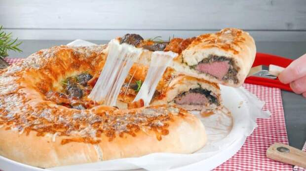 Домашняя пицца с мясным бортиком. Оригинальная закуска для всей семьи 4