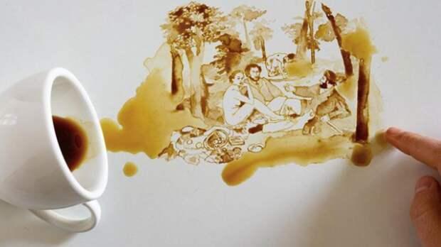 Художница покорила Сеть, превращая пролитый кофе в искусство