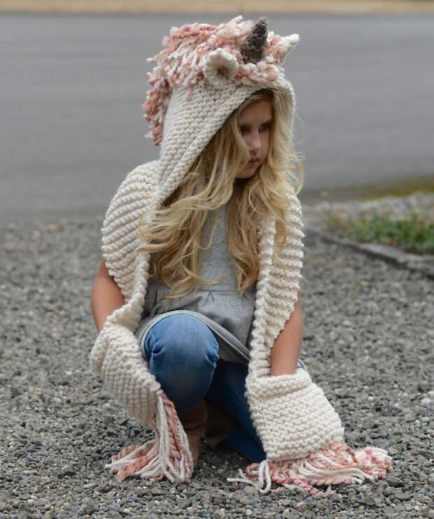Шапка-единорог вязание, новый год, подарки