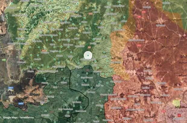 Точка нападения на карте северо-западного Алеппо