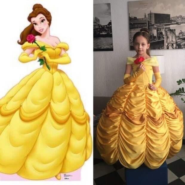 Платье принцессы Белль на Новый год для доченьки! Оцените старание