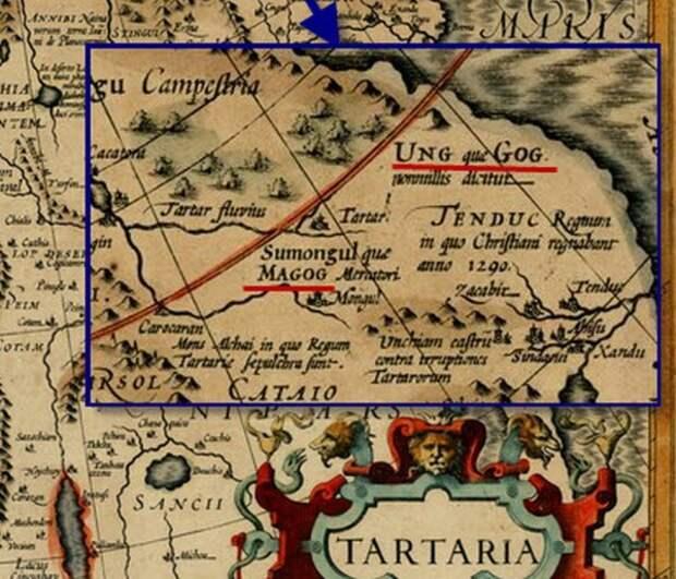 Увеличенный правый верхний фрагмент карты Тартарии 17 века