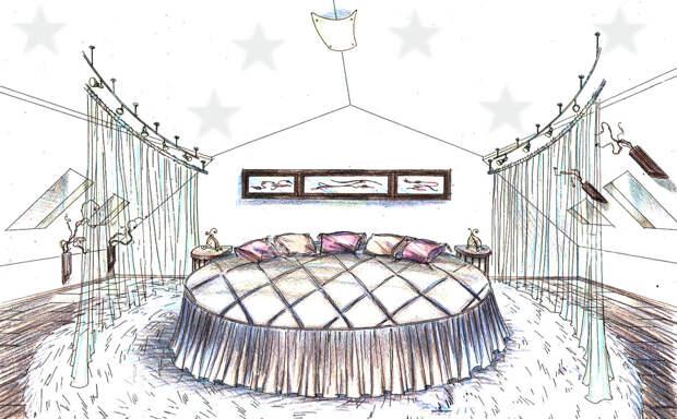 Круглая кровать в спальне: все за и против