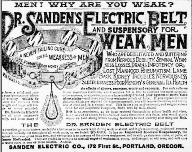 Электрический пояс XIX века, которым мужчины старались «подзарядить» причинные места.
