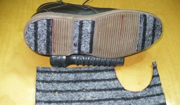 Приклеенные на подошву кусочки войлока не дадут сапогам скользить / Фото: ubirai.ru