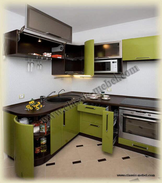 Оливково-шоколадный кухонный гарнитур