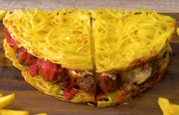 Сэндвич из спагетти с фрикадельками