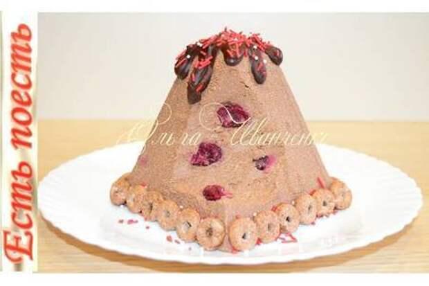 Фото к рецепту: Пасха заварная шоколадно-вишневая.