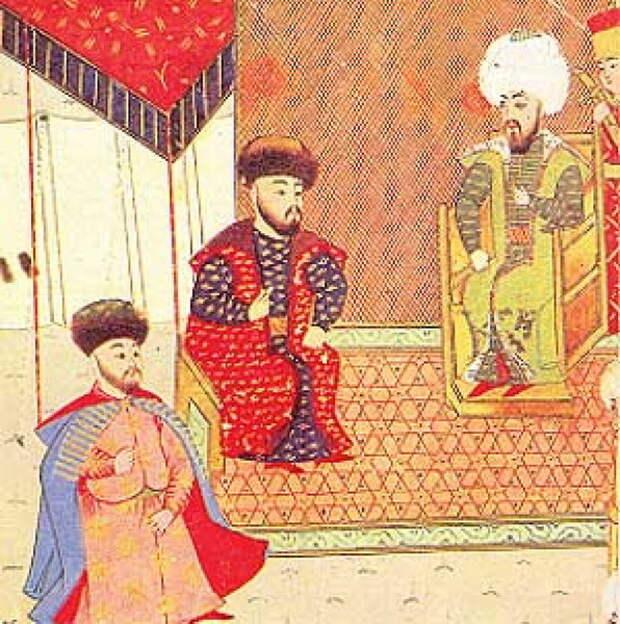 Менгли-Гирей I (в центре) на турецкой миниатюре XVI века - «Война двух царей»: путь к морю | Warspot.ru