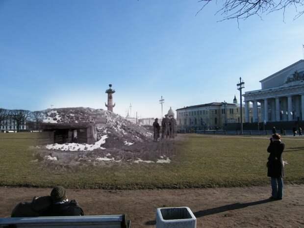 Ленинград 1942-2009 Стрелка Васильевского острова.Блиндаж зенитной батареи блокада, ленинград, победа