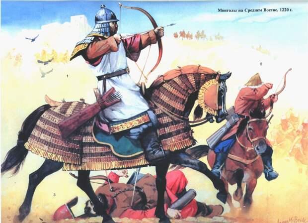 Рисунки реконструкции монгольских воинов.