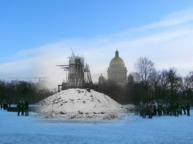 Ленинград 1941-2009 Площадь Декабристов. Медный всадник укрытый от повреждений блокада, ленинград, победа