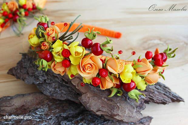 Аксессуары с ягодами из полимерной глины