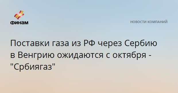 """Поставки газа из РФ через Сербию в Венгрию ожидаются с октября - """"Србиягаз"""""""
