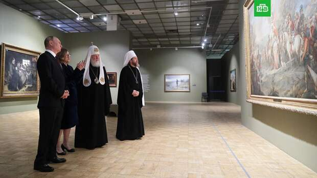 Путин и патриарх Кирилл посетили Третьяковскую галерею