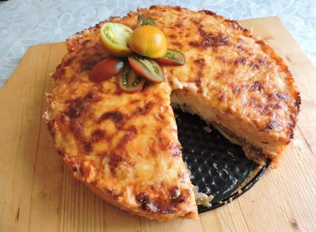 Вот так вот простые макаронные изделия с фаршем превратились в такой красивый пирог Лапшевик, еда, своими руками, сделай сам