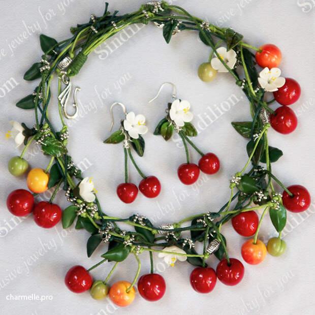 Вишня ягоды из полимерной глины колье