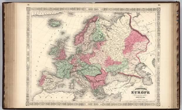 Немецкая карта России 1863 года - восточная граница проходит четко по Уралу