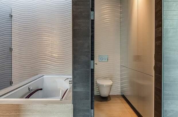 """трехмерная плитка """"волна"""" в интерьере ванной"""