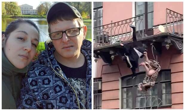 Эпичное падение: в Питере пара сорвалась с балкона третьего этажа во времяссоры