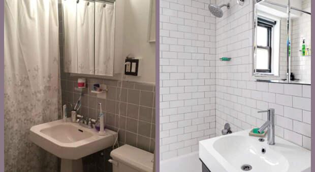Преображение серенькой ванной в элегантное место