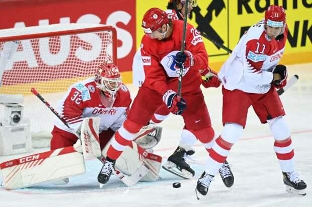 Россия обыграла Данию со счётом 3:0 в матче чемпионата мира по хоккею