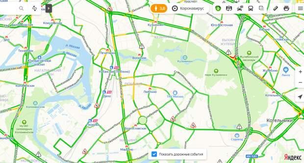 «Яндекс. Пробки» оценил загруженность Люблинской улицы в один балл